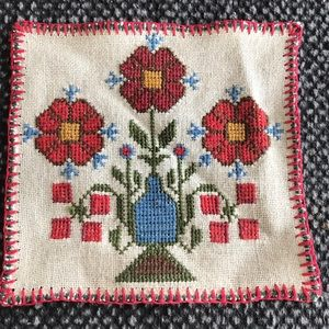 Vintage cross stitch square doilie